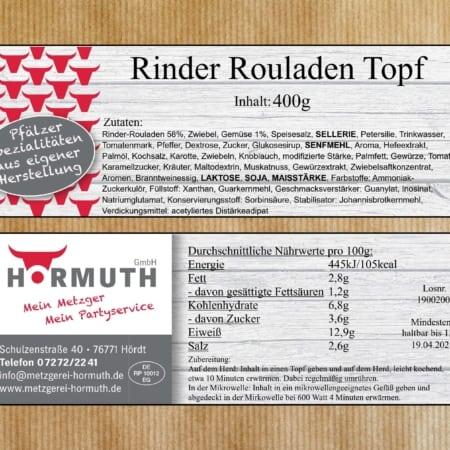 Rinder Rouladen, 400g Dose, Fertiggericht, convenience