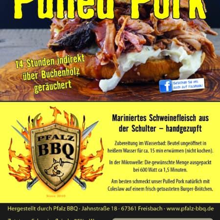 Pulled Pork 1000g, Original aus dem Smoker, PFALZ BBQ