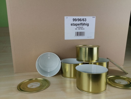 Weißblechdosen mit Deckel, Weißblechdosen, 99-63 stapelbar,